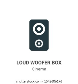Loud woofer box vector icon on white background. Flat vector loud woofer box icon symbol sign from modern cinema collection for mobile concept and web apps design.