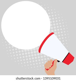 Loudhailer in Hand with Blank Round Shape Speech Bubble. White Empty Text Balloon Floating beside Megaphone. Creative Background Space for Announcements and Clippings