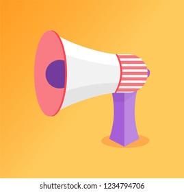 Loudspeaker big megaphone vector icon. Speaking-trumpet or bullhorn, blowhorn or loudhailer portable hand-held cone shaped acoustic horn to amplify voice