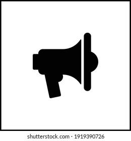 loudspeaker black icon vector illustration. Mobile app element