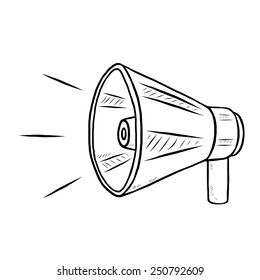 loudspeaker / cartoon vector and illustration, black and white, hand drawn, sketch style, isolated on white background.