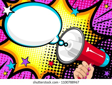 Loudspeaker comic book Pop Art. Female hand with megaphone. Vector background in retro pop art style. Horn.