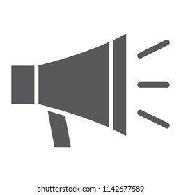 Loudspeaker glyph icon, contact us and bullhorn, megaphone sign, vector graphics, a solid pattern on a white background, eps 10.