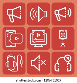Loudspeaker, headphones, bullhorn, muted, volume icon set suitable for info graphics, websites and print media and interfaces