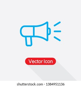 LoudSpeaker Icon, Megaphone Icon Vector Illustration In Flat Style Eps10