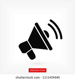 loudspeaker icon vector, stock vector illustration flat design style