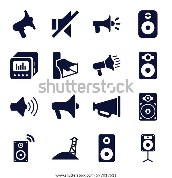 loudspeaker icons set. Set of 16 loudspeaker filled icons such as volume, speaker, no sound, loud speaker with equalizer, megaphone