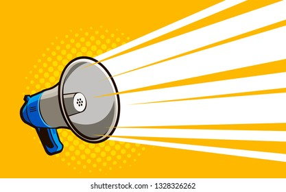 Loudspeaker, megaphone. Advertising, announcement, attention banner. Vector illustration in style comic pop art