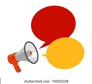 Loudspeaker, megaphone. Advertising, announcement, attention concept. Vector illustration