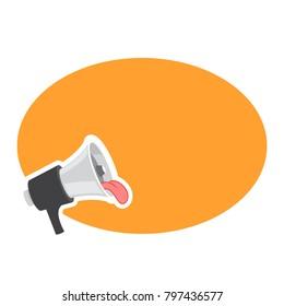 Loudspeaker, megaphone, bullhorn icon or symbol. Fun loudspeaker with tongue