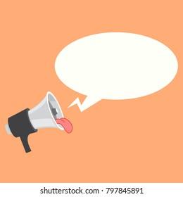 Loudspeaker, megaphone, bullhorn icon or symbol. Fun loudspeaker with tongue .Vector