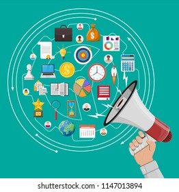 Loudspeaker or megaphone in hand and different icons. Digital marketing, social media, network. Announcement element. Vector illustration in flat style