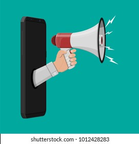 Loudspeaker or megaphone in hand inside smartphone. Announcement element. Social online marketing. Vector illustration in flat style