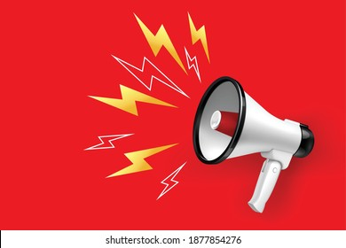 Loudspeaker and megaphone with lightings on red background realistic vector illustration
