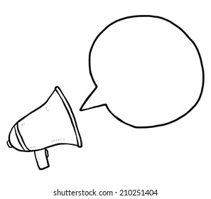 loudspeaker and speech bubble / cartoon vector and illustration, black and white, hand drawn, sketch style, isolated on white background.