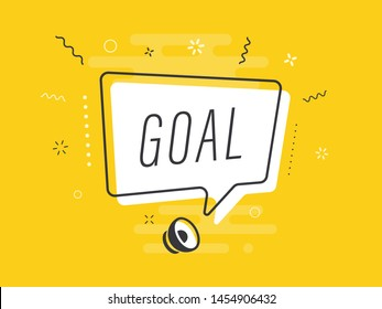 Loudspeaker with text 'goal' on Quick Tips badge. Business concept for new ideas creativity and innovative solution. File has clipping path.