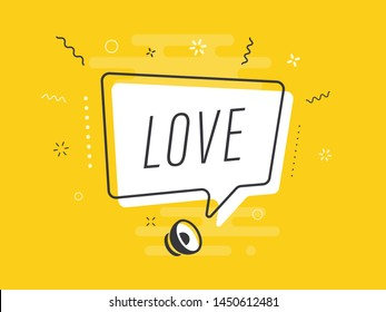 Loudspeaker with text 'love' on Quick Tips badge. Business concept for new ideas creativity and innovative solution. File has clipping path.