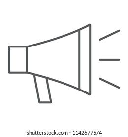 Loudspeaker thin line icon, contact us and bullhorn, megaphone sign, vector graphics, a linear pattern on a white background, eps 10.