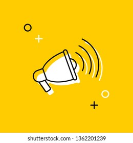 loudspeaker thin line icon. vector audio, music, voice, sound symbol on yellow background. eps 10