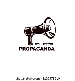 Loudspeaker vector logo isolated on white. Misleading and brainwashing information, fake news concept