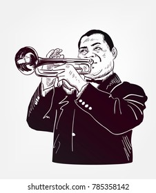 louis armstrong vector sketch illustration