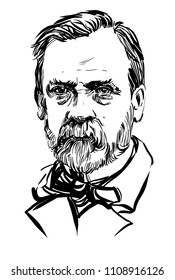 Louis Pasteur. Vector portrait.  June 8, 2018.  Drawing drawn from a photograph.