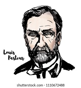 Louis Pasteur watercolor vector portrait with ink contours. French biologist, microbiologist and chemist renowned for his discoveries of microbial fermentation and pasteurization.