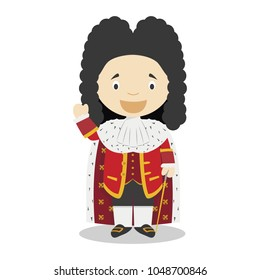 Louis XIV of France cartoon character. Vector Illustration. Kids History Collection.