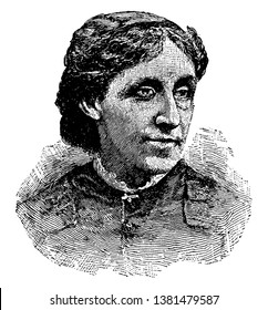 Louisa May Alcott, 1832-1888, she was famous American novelist and poet, vintage line drawing or engraving illustration
