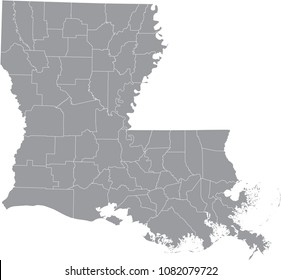 Louisiana county map vector outline illustration gray background. Louisiana state of USA county map. County map of Louisiana state of United States of America