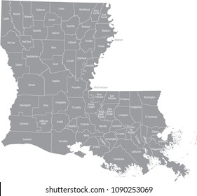 Louisiana county map vector outline in gray background. Louisiana state of USA map with counties names labeled