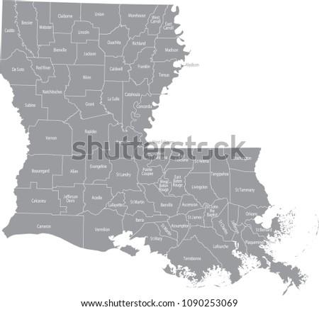 Louisiana County Map Vector Outline Gray Stock Vector (Royalty Free ...