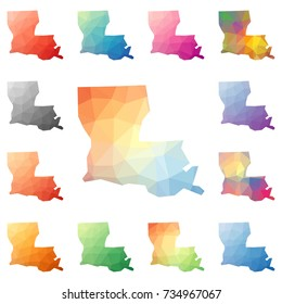 Louisiana geometric polygonal, mosaic style us state maps collection. Bright abstract tessellation, low poly style, modern design. Louisiana polygonal maps for your infographics or presentation.