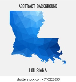 Louisiana map in geometric polygonal,mosaic style.Abstract tessellation,modern design background,low poly. Vector illustration.