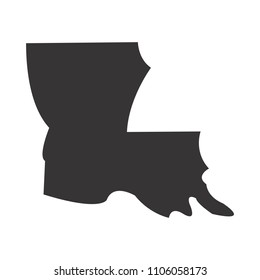 Louisiana map. Simple black map. Vector eps 08. State of US America Maps.
