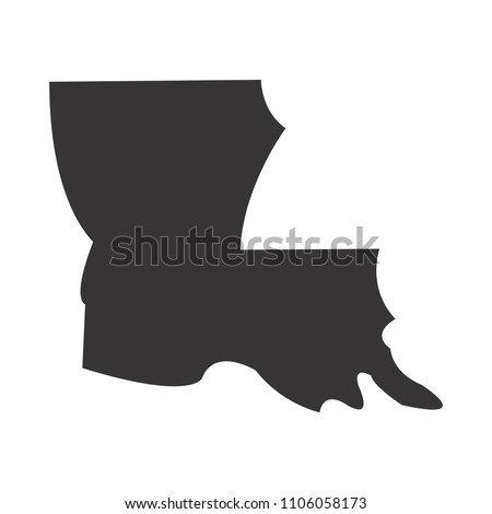 Louisiana Map Simple Black Map Vector Stock Vector Royalty Free