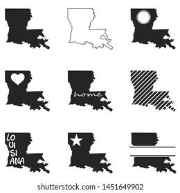 Louisiana Map. Symbol Icon Set. Flat Vector Art Design. Clip Art Logo Collection.