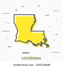 Louisiana map in thin line style. Louisiana infographic map icon with small thin line geometric figures. Louisiana state. Vector illustration linear modern concept