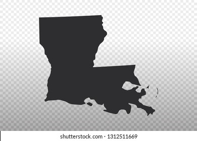 Louisiana Map - USA, United States of America map, World Map International vector template isolated on transparent background - Vector illustration eps 10