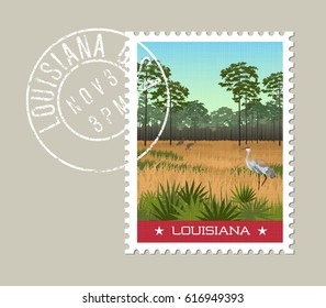 Louisiana postage stamp design. Vector illustration of Sandhill cranes and pines in wetland nature preserve. Grunge postmark on separate layer.