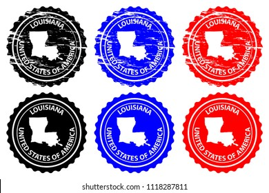 Louisiana - rubber stamp - vector, Louisiana (United States of America) map pattern - sticker - black, blue and red