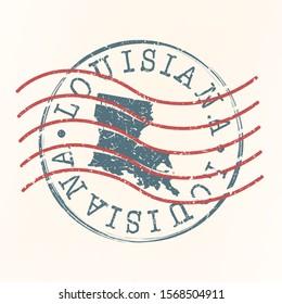 Louisiana Stamp Postal. Map Silhouette Seal. Passport Round Design. Vector Icon. Design Retro Travel.