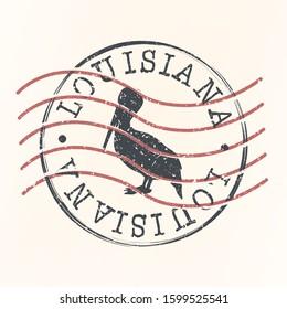 Louisiana Stamp Postal. Silhouette Seal. Passport Round Design. Vector Icon. Design Retro Travel. National Symbol.