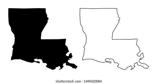 Louisiana State Blank Map Solid Black Color and Outline - Louisiana US Map Vector Flat Icon Isolated on White Background