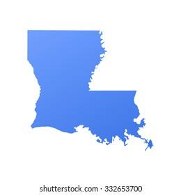 Louisiana state border,map