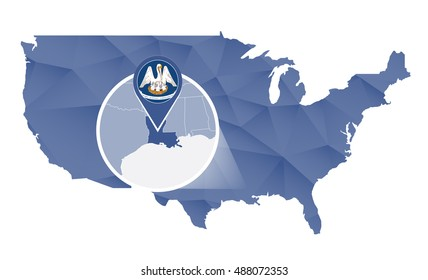 Louisiana State magnified on United States map. Abstract USA map in blue color. Vector illustration.