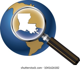 Louisiana State Map Enlarged with Magnifying Glass on Globe
