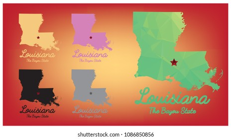 louisiana state map with nickname The Bayou State, Vector EPS 10