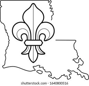 Louisiana State symbol. Vector outline icon.