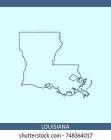 Louisiana State Usa Map Vector Outline Stock Vector 748209148